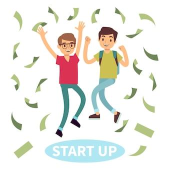 Felices estudiantes exitosos en lluvia de dinero. concepto de puesta en marcha
