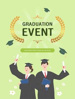 Felices estudiantes graduados con vestimenta académica, bata o bata y gorra de graduación y con diploma. niño y niña celebrando la graduación universitaria. ilustración de dibujos animados plana