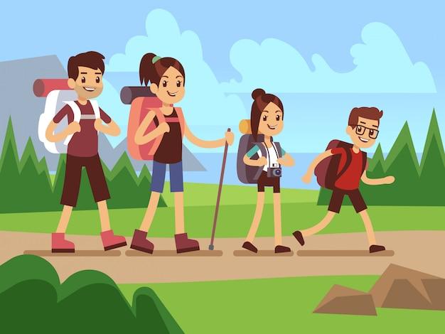 Felices excursionistas familiares. otoño trekking concepto de vector de aventura al aire libre