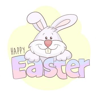 Felices felicitaciones de pascua con conejito blanco