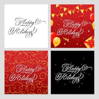 Felices fiestas conjunto de banners