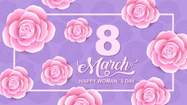 Felices fiestas del día de la mujer, 8 de marzo, fondo de flores.