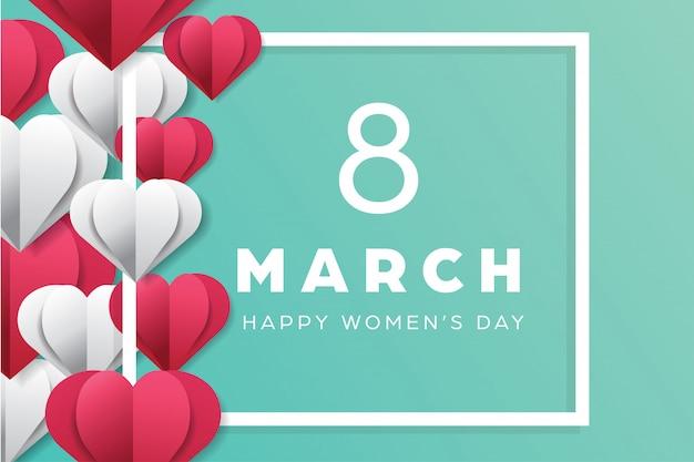 Felices fiestas del día de las mujeres con estilo de formas de amor de corte de papel