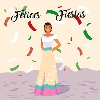 Felices fiestas etiqueta con mujer con traje típico mexicano