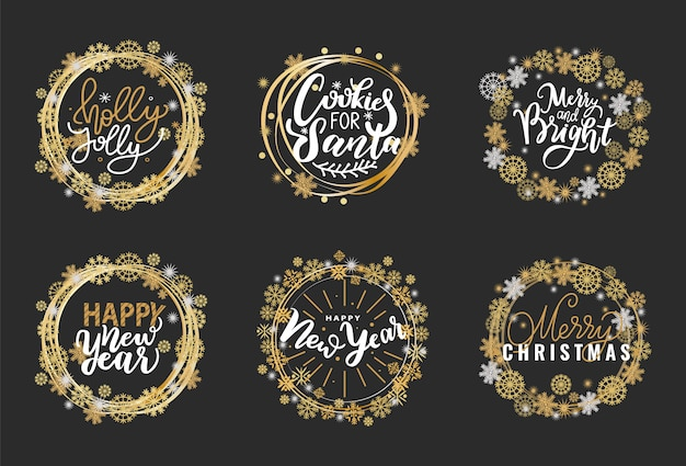 Felices fiestas etiquetas doradas