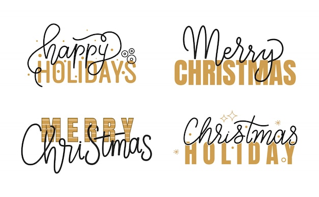 Felices fiestas, feliz navidad manuscrita doodle