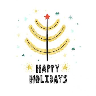 Felices fiestas linda tarjeta con un árbol de navidad