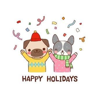 Felices fiestas con lindos perros de dibujos animados en estilo plano.