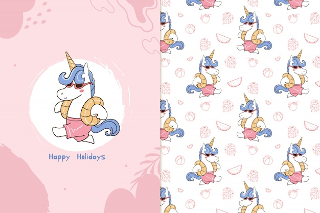 Felices fiestas patrón de unicornio