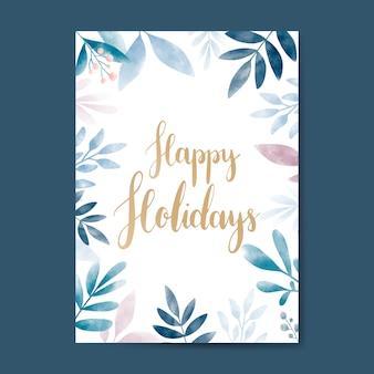 Felices fiestas vector de diseño de tarjeta acuarela