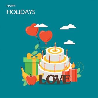 Felices fiestas vector ilustración de diseño de estilo plano