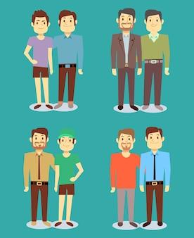 Felices homosexuales lgbt hombres pares en amor fondo verde azulado