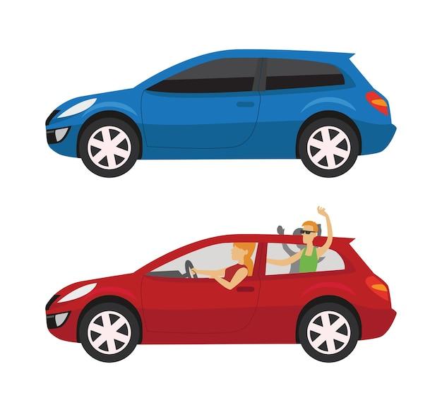 Felices jovenes conduciendo