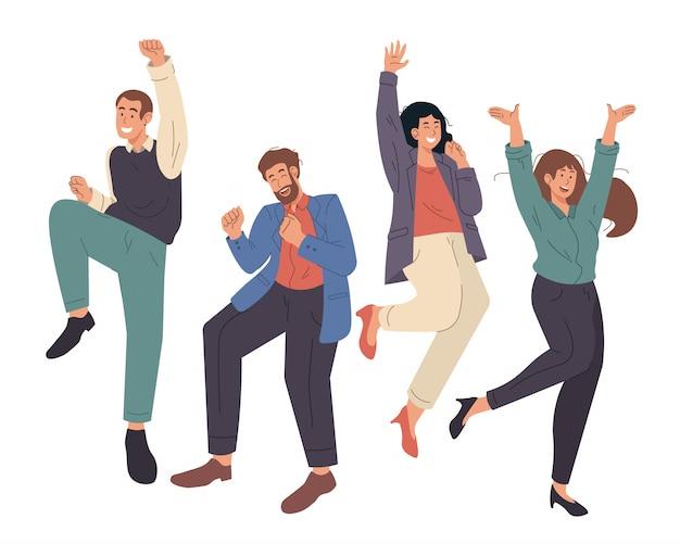 Felices jóvenes oficinistas saltando. gente alegre celebrando el éxito