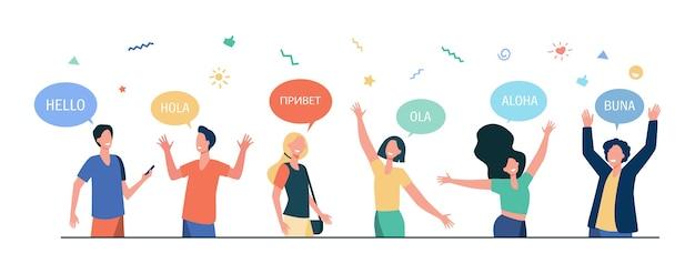 Felices los jóvenes saludando en diferentes idiomas. estudiantes con bocadillos y manos en gesto de saludo.