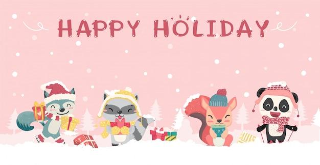Felices lindos animales salvajes en invierno navidad traje plano de dibujos animados, idea para banner