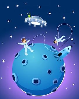 Felices lindos niños astronautas
