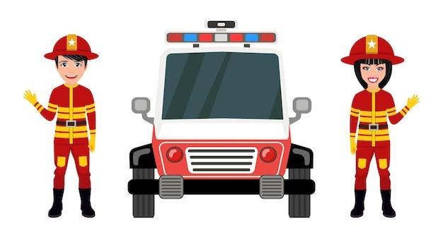 Felices lindos personajes de bombero inteligente vistiendo trajes de bomberos y saludando aislados con coche de bomberos