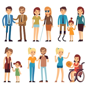 Felices minusválidos en actividades deportivas y sociales. conjunto de caracteres planos vectoriales. persona discapacitada en ilustración de silla de ruedas.
