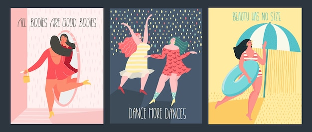 Felices mujeres de talla grande bailando, saliendo, tomando el sol con texto inspirador.