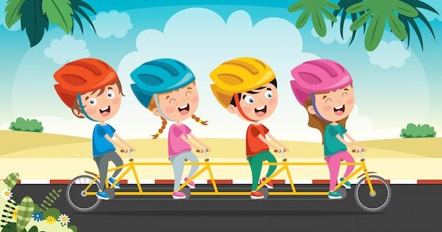 Felices los niños en bicicleta