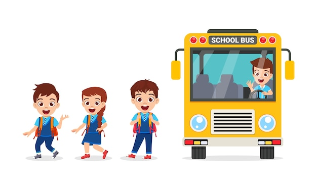 Felices los niños lindos y el autobús escolar que viene de la escuela aislado en blanco