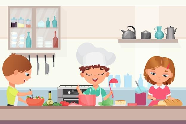 Felices los niños lindos niños cocinando comida deliciosa en la cocina.