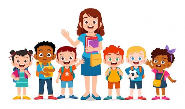 Felices los niños lindos sonríen con el maestro juntos | Vector ...