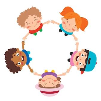 Felices niños multiétnicos jugando juntos