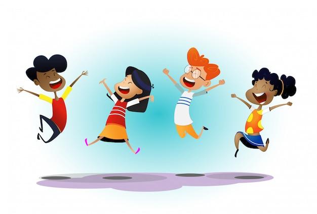 Felices los niños multirraciales de dibujos animados saltando y riendo alegremente