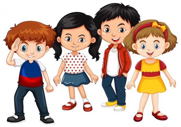 Felices niños y niñas juntos.