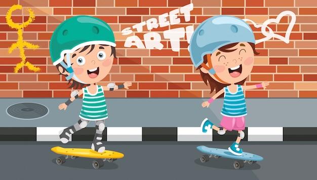 Felices los niños patinando afuera
