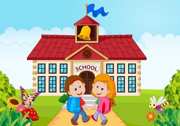 Felices niños pequeños van a la escuela