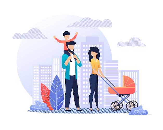 Felices padres sonrientes en paseo ilustración plana