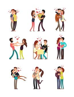 Felices parejas de familia en el amor. boda personas vector personajes de dibujos animados