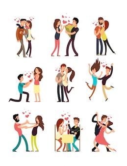 Felices parejas jóvenes enamorados, vector personajes de dibujos animados de san valentín