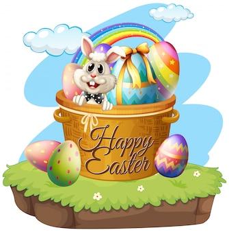 Felices pascuas con conejo y huevos