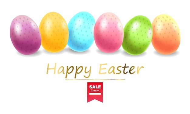 Felices pascuas, conjunto de huevos realista, banner de huevos coloreados