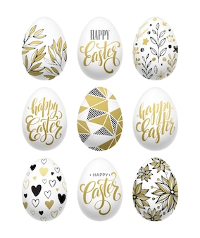 Felices pascuas. efecto dorado de huevo de letras caligráficas. ilustración de vector eps10