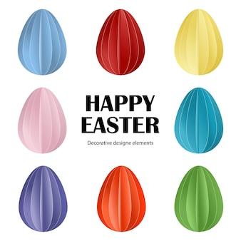 Felices pascuas, huevos de pascua en estilo de papel cortado