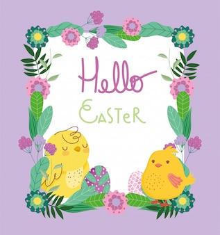 Felices pascuas lindas gallinas huevos flores marco decoración tarjeta
