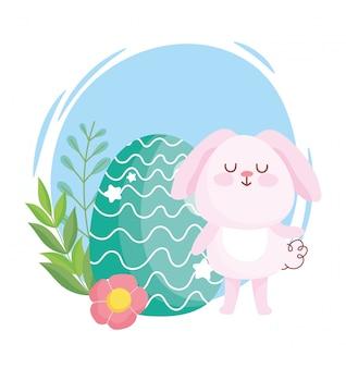 Felices pascuas, lindo conejito con decoración de dibujos animados de flores de huevo verde