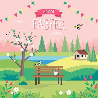 Felices pascuas, paisaje de primavera con banco, casas, campos y naturaleza