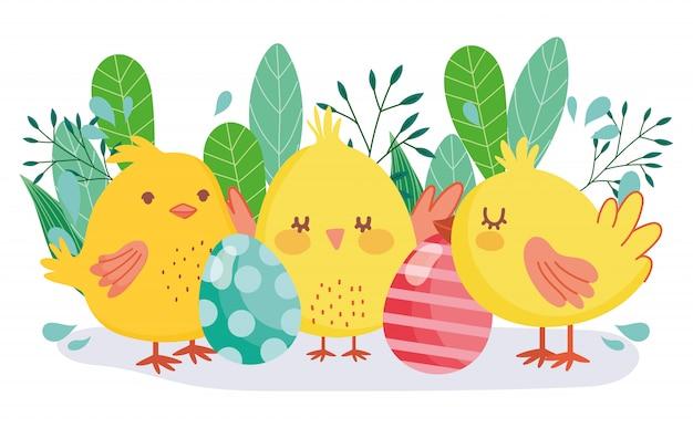Felices pascuas pollos lindos huevos decorativos decoración de follaje