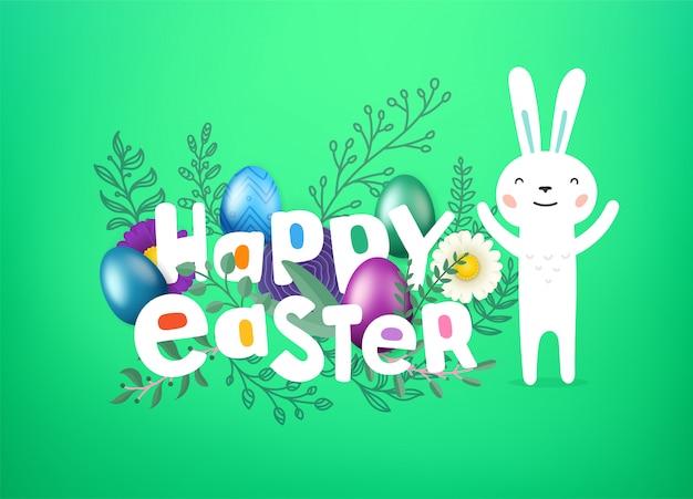Felices saludos de pascua con inscripción de estilo cómico y lindo conejo