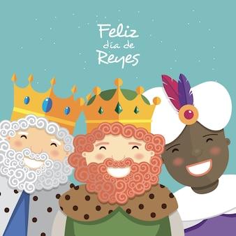 Felices tres reyes sonriendo y texto en español