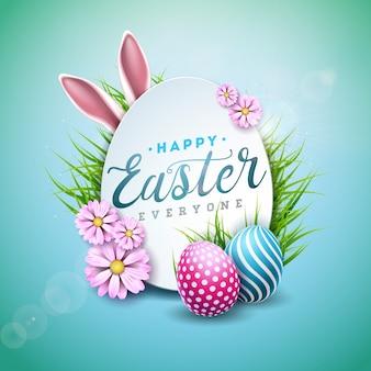 Felices vacaciones de pascua con huevos pintados y orejas de conejo