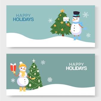 Felices vacaciones de invierno, año nuevo y navidad ilustración de dos pancartas.