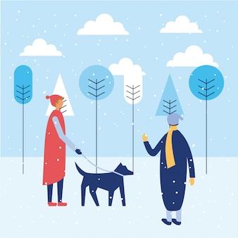Felices vacaciones de invierno para personas
