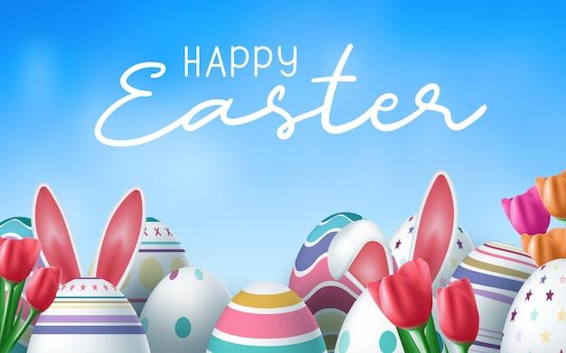 De felices vacaciones de pascua con huevo pintado, orejas de conejo y flor